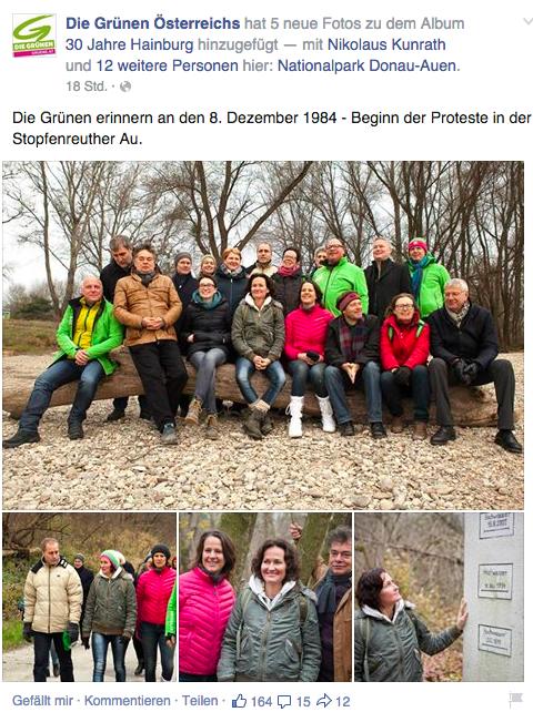 Posieren in der Stopfenreuther Au. 30 Jahre nach Hainburg siegt Inszenierung über Idee.