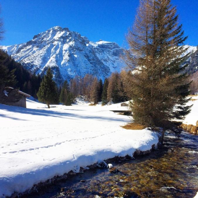 Winterwandern entlang des Seebachs. Zwischen markigen Lärchen und vorbei an urigen, rustikalen Heuhütten.
