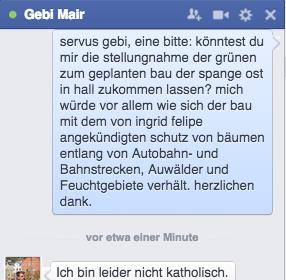 Chatten mit Gebi Mair ist nicht immer erbaulich. Konkrete Frage - keine Antwort.
