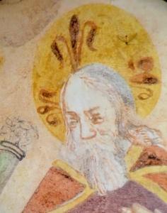 Gottvater im St. Vigil-Kirchlein: Sein Fresko ist direkt über dem Bild der 3 Saligen angebracht. Damit die Hierarchie wieder stimmt?