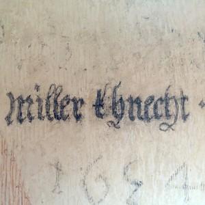Da hat sich ein - vermutlich - Herr Miller 1654 verewigt. In perfekter Handschrift.