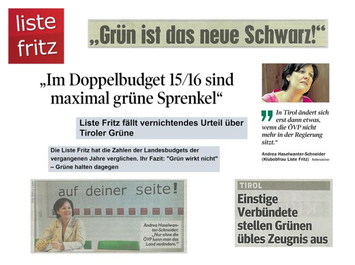 Die oppositionelle Liste Fritz bringt es auf den Punkt: selbest einstige Verbündete wie der WWF und Greanpeace wenden sich von den Tiroler Grünen ab.