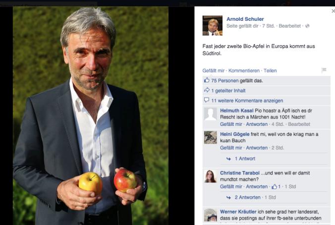 Diese Kampagne zeigt die Hilflosigkeit von Arnold Schuler, dem giftigen Treiben der Obstbauern in Südtirol Einhalt zu gebieten. Deshalb lobt und preist er offenbar die Bio-Äpfel.