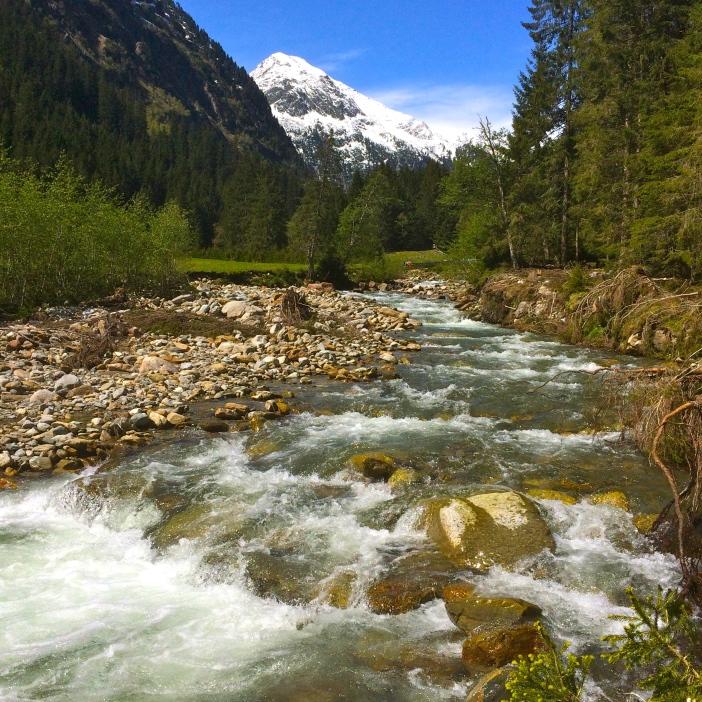 Wollen wir, dass die Ruetz zu einem mickrigen Rinnsal wird? Wenn es der TIWAG gelingt, uns die letzten Flüsse abzugraben, fließt die Ruetz an dieser Stelle mit maximal der halben Wassermenge, wie sie auf dem Foto sichtbar ist.