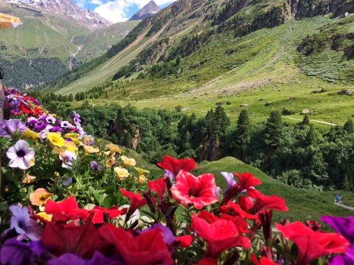 Der Blick von der Terrasse des Gasthofes Rofenhof auf die Berge des Ötztales: Genial