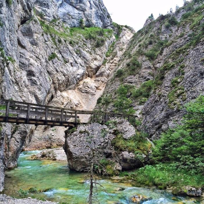 Die letzte Brücke in der Gleirschklamm. Man ist irbendwie froh, das Abenteuer hinter sich zu haben.