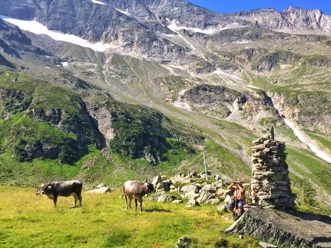 Erich Gatt vor seinem großen Stoa-Mandl in der Wildau. Hinter ihm die Berge der Langen Wand.
