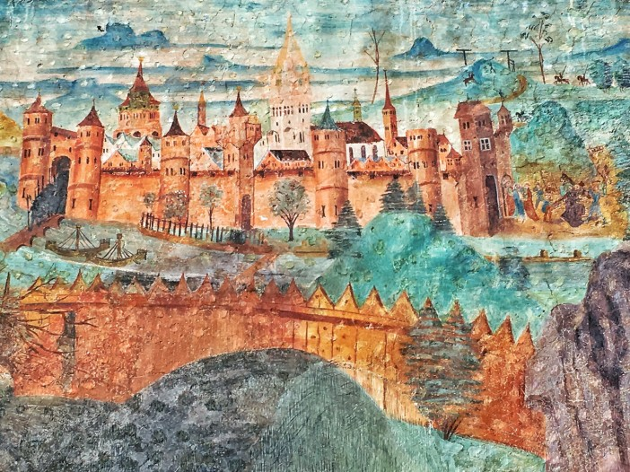 Jerusalem als gotische Stadt mit massiven Mauern. Wollte der Maler damit andeuten, das auch Imst solche Mauern brauche, um Stadt zu sein?