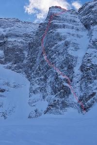 Die Route, die Lama/Auer/Ortner bei ihrer Winter-Erstbesteigung wählten. Foto: Planetmountain.com