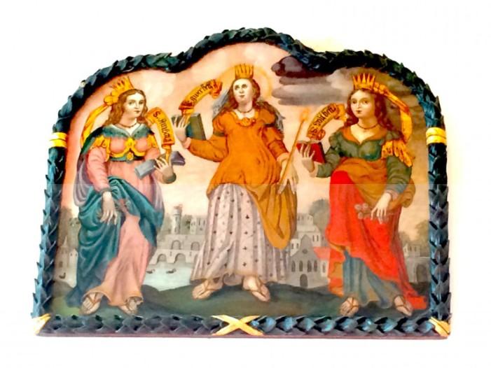 Dieses Ölbild in der Vigilkirche in Obsaurs stellt die 3 Saligen Fräulein dar. Eine weibliche Dreifaltigkeit?